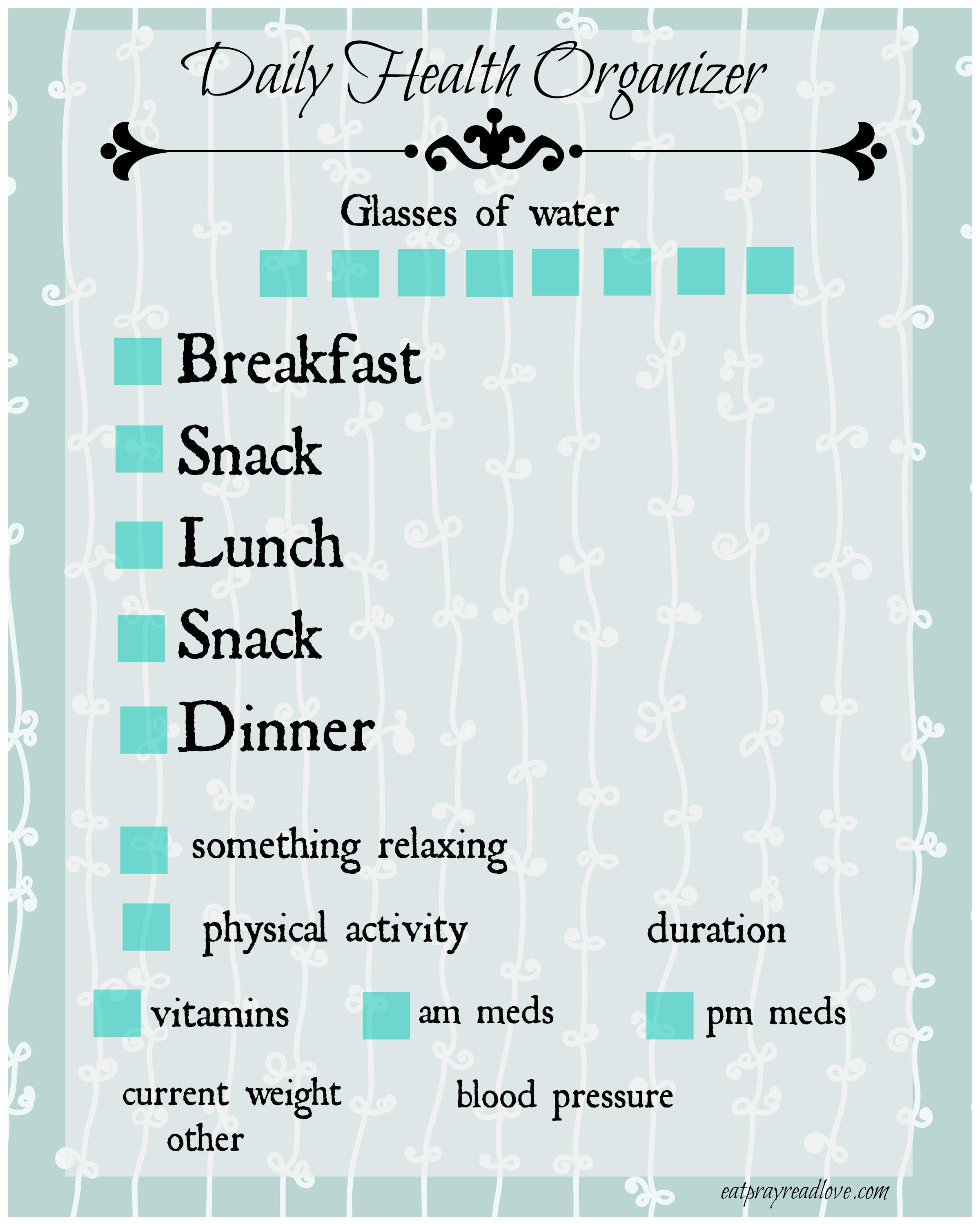 Free Printable Daily Health Organizer 10 Tips To Get YOU More Organized